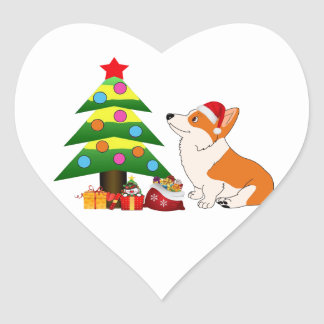 Holiday Welsh Corgi Cartoon with Tree Heart Sticker