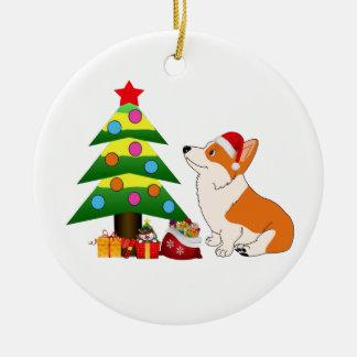Holiday Welsh Corgi Cartoon with Tree Round Ceramic Ornament