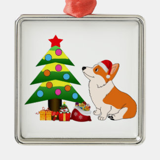 Holiday Welsh Corgi Cartoon with Tree Silver-Colored Square Ornament