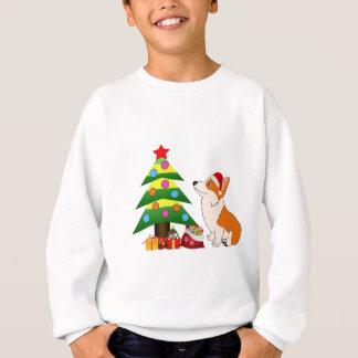 Holiday Welsh Corgi Cartoon with Tree Sweatshirt