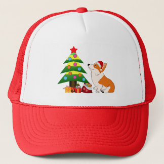 Holiday Welsh Corgi Cartoon with Tree Trucker Hat