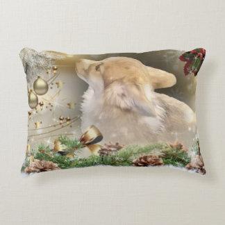 Holiday Welsh Corgi Puppy Accent Pillow