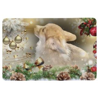 Holiday Welsh Corgi Puppy Floor Mat