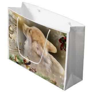 Holiday Welsh Corgi Puppy Large Gift Bag