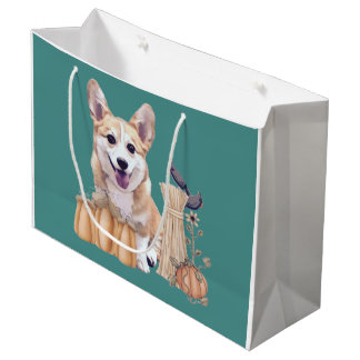 Holiday Welsh Corgi Puppy  with Pumpkin Large Gift Bag