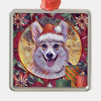 Holiday Welsh Corgi Wreath Silver-Colored Square Ornament