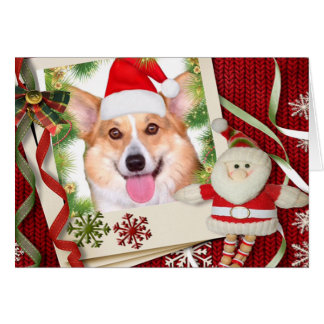 Holiday Welsh Corgis with Santa Frame Card