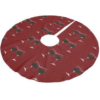Holiday Wine Cheer Christmas Tree Skirt Brushed Polyester Tree Skirt