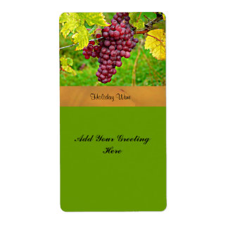 Holiday Wine Label with Red Grapes Template