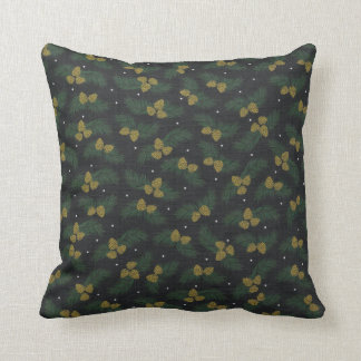 Holiday winter Pine Tree Acorn Evergreen Pillow