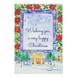 Holiday Winter Snowman Happy Christmas Poster