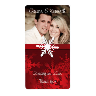 Holiday, Winter Wedding Photo Wine Label Shipping Label