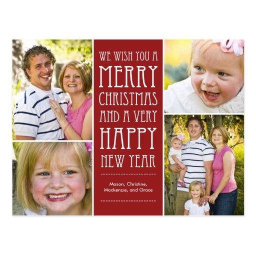 Holiday Wishes Christmas Photo Card Postcard Postcard