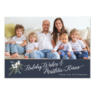 Holiday Wishes & Mistletoe Kisses Christmas Photo Card