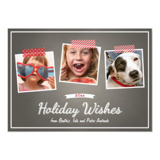 "Holiday Wishes Three Photos Tape Chalk Christmas 5"" X 7"" Invitation Card"