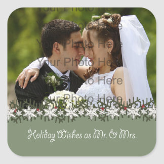 Holiday Wishes Wedding Photograph Square Sticker