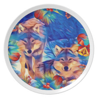 Holiday Wolves Dinner Plates