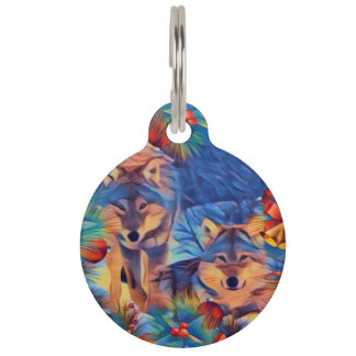 Holiday wolves pet ID tag