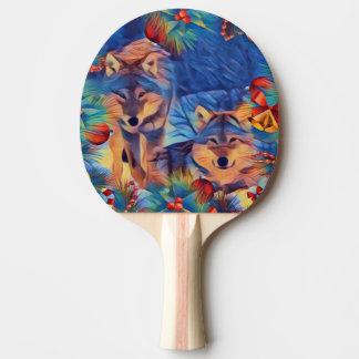 Holiday wolves ping pong paddle