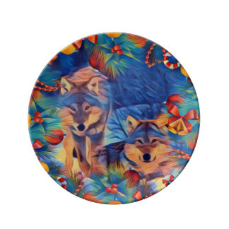 Holiday wolves plate