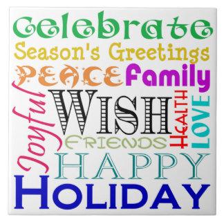 Holiday Words Trivet Tile