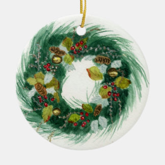 Holiday Wreath Ceramic Ornament