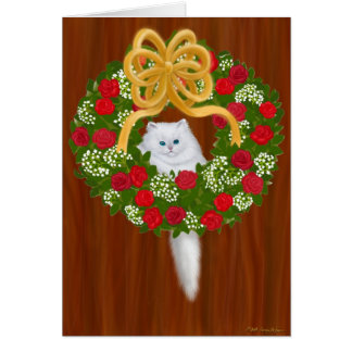 Holiday Wreath Kitten Card