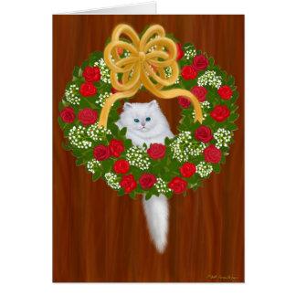 Holiday Wreath Kitten Card
