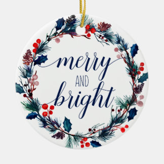 Holiday Wreath Ornament - Merry & Bright