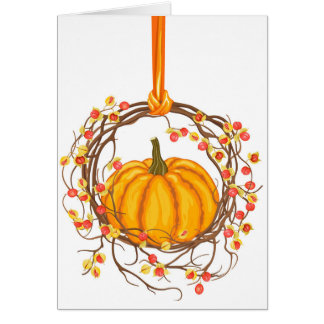 Holiday Wreath With Pumpkin Greeting Card