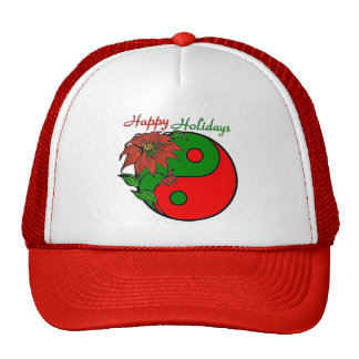 Holiday Yin Yang Poinsettia Green Red Trucker Hat
