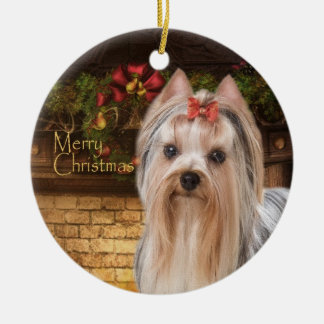 Holiday Yorkie Ornament