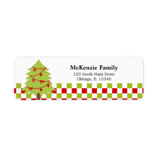 Holidays Checkered Return Address Label