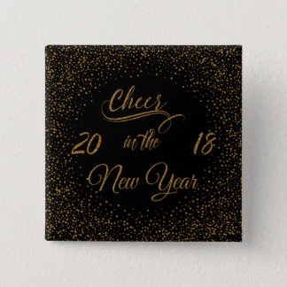 Holidays - Cheer In The New Year Gold Faux Glitter 2 Inch Square Button