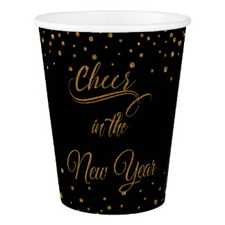 Holidays - Cheer In The New Year Gold Glitter Paper Cup