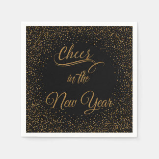 Holidays - Cheer In The New Year Gold Glitter Paper Napkins