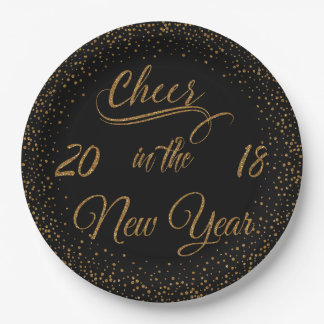Holidays - Cheer In The New Year Gold Glitter Paper Plate
