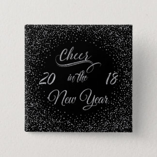 Holidays - Cheer In The New Year Silver Glitter 2 Inch Square Button