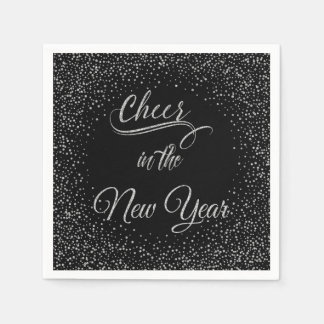 Holidays - Cheer In The New Year Silver Glitter Napkin