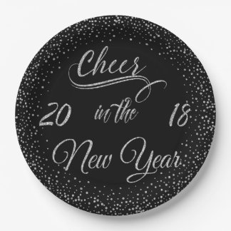 Holidays - Cheer In The New Year Silver Glitter Paper Plate