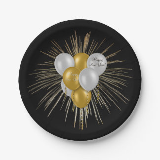 Holidays - Happy New Year Balloons Paper Plate