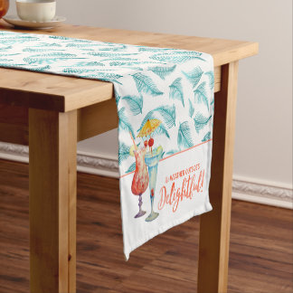 Holidays in the Tropics | Tropical Drinks & Teal Short Table Runner