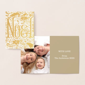 Holidays poinsettia Christmas typography Noel Foil Card