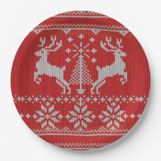 Holidays Red Knit Ugly Christmas Sweater Ho Deer Paper Plate