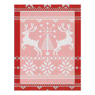 Holidays Red Knitting Ugly Sweater Style Deer Letterhead Template