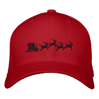 Holidays Santa Sleigh Ride Scene Embroidery Embroidered Hat