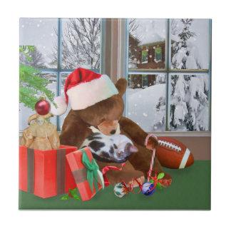Holidays, Teddy Bear, Cat, Toys, Snow Tile