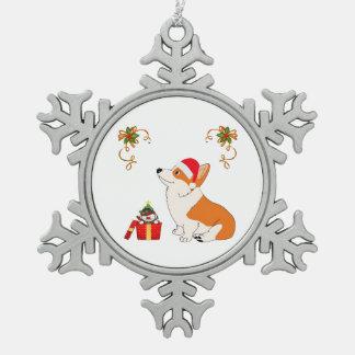 HolidayWelsh Corgi Cartoon Pewter Snowflake Ornament