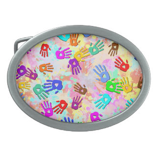 holiES - hands colored pattern 1 + your backgr. Oval Belt Buckles