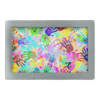 holiES - hands splashes colored grunge pattern 2 Rectangular Belt Buckles